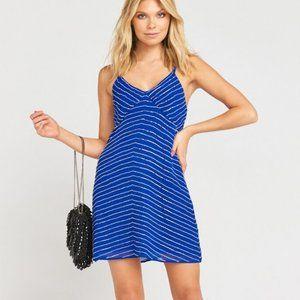 BNWT SMYM Callahan Slip Dress Blue Beaded Mini